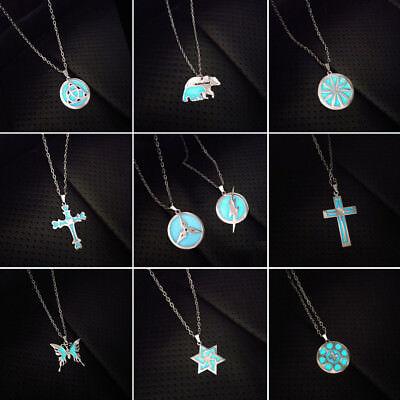 Glow In The Dark Cross (10 Types Luminous Cross Butterfly Necklace Chain Pendant Glow In The Dark)