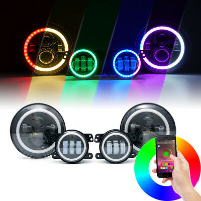 "90W CREE LED 7"" Headlights Fog Light Combo With Bluetooth RGB Halo Jeep Wrangler"