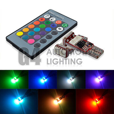 2X Rgb T10 194 W5w 2825 Remote Control Color Led Bulb Parking Light Car Lamp