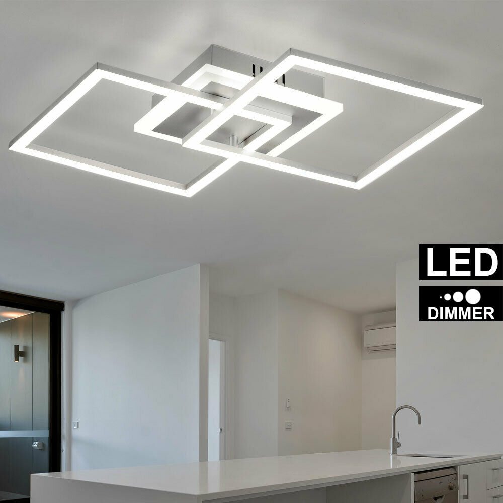 LED Design Decken Lampe Wohn Ess Zimmer Beleuchtung Switch DIMMER Leuchte silber