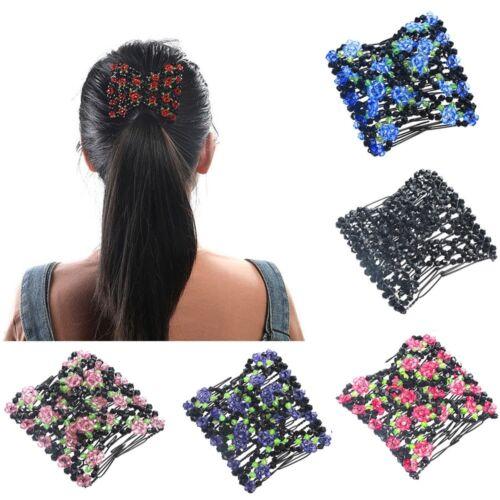 Double Hair Comb Magic Beads Elasticity Clip Stretchy Hair Combs Clips Hair Claw