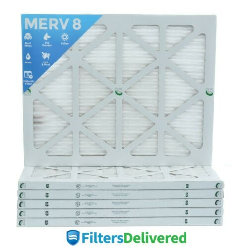 20x25x1 MERV 8 Pleated AC Furnace Air Filters by Glasfloss. 6 Pack.