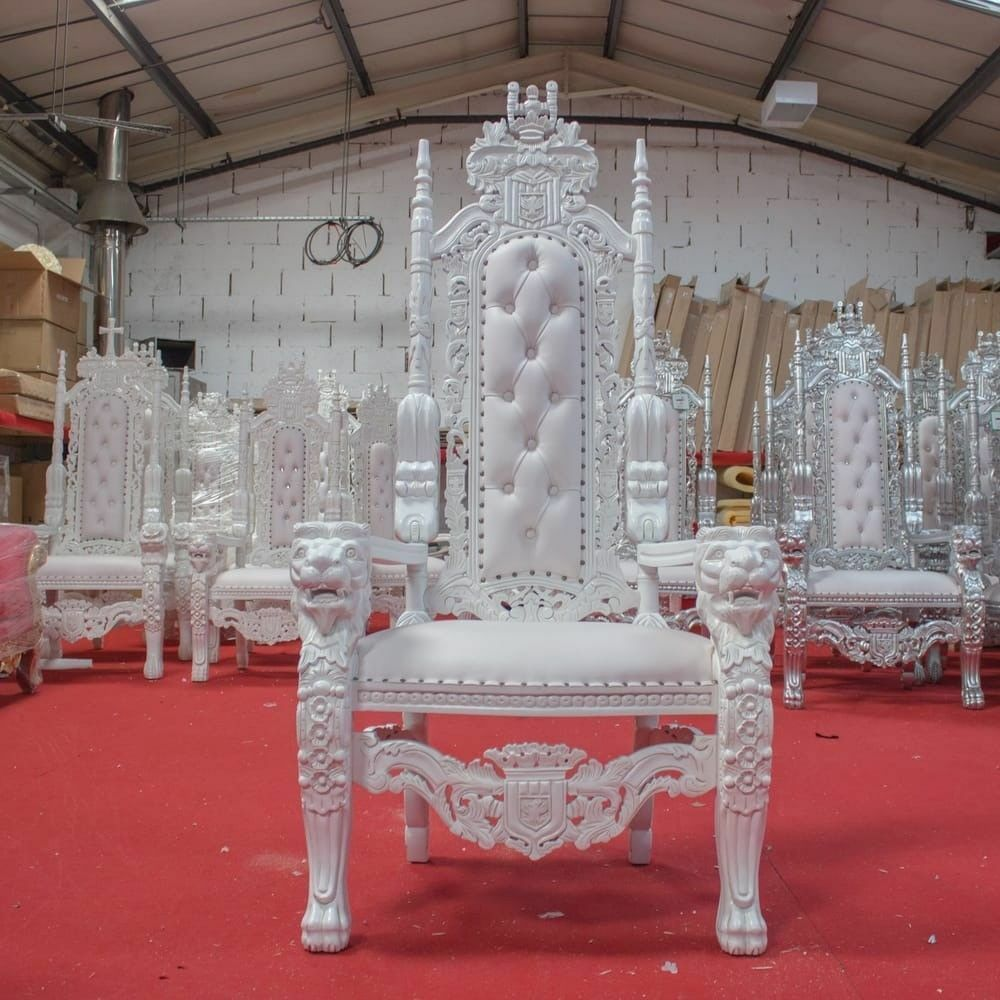 2 X New White Lion King Queen Throne Chair Wedding Luxury Hand Made French  Italian Furniture