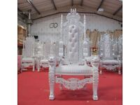 1 x New White Lion King Queen Throne Chair Wedding Luxury Hand made French Italian Furniture
