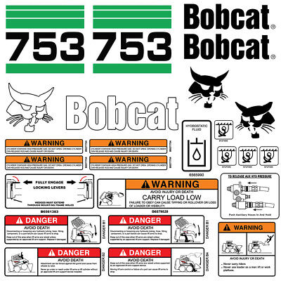 Bobcat 753 V2 Skid Steer Set Vinyl Decal Sticker Bob Cat Made In Usa - 25 Pc Set