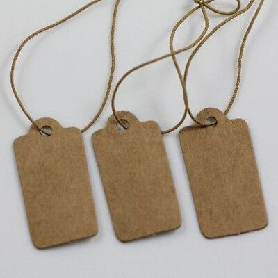 100x Kraft Paper Price Label With Elastic String Jewelry Clothes Label Tag Diy