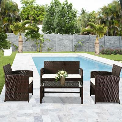 Garden Furniture - 4pc Patio Furniture Set PE Wicker Cushioned Outdoor Rattan Sofa Deck Lawn Garden