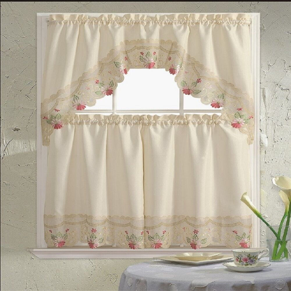 BH Home Floral Embroidered 3-Piece Kitchen Window Curtain Ra