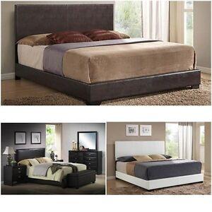 upholstered bed frame w headboard footboard leather platform full queen king new ebay. Black Bedroom Furniture Sets. Home Design Ideas