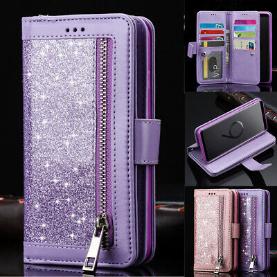 For Samsung Note8 S8 J3 2017 S10 Purse Wallet Card Holders Magnetic Case Cover
