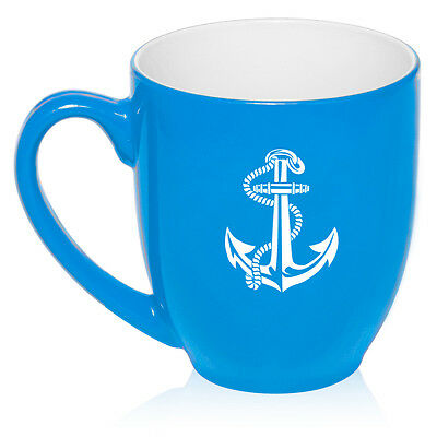 16oz Bistro Mug Ceramic Coffee Tea Glass Cup Anchor with -