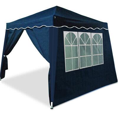 Pabellón plegable Azul 3x3m Cenador con 4 paredes laterales con ventana