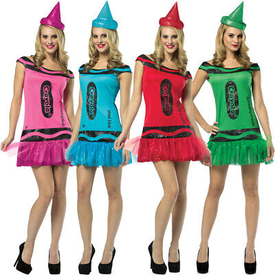 CRAYOLA CRAYON COSTUME DRESS AND HAT WOMENS FANCY DRESS HEN PARTY CHOOSE COLOUR