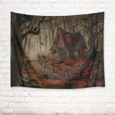 Halloween Tapestry (Halloween Forest Ghost Cabin Tapestry Wall Hanging for Living Room Bedroom)