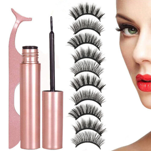 10 Pcs Magnetic False Eyelashes Lashes with Magnetic Liquid Eyeliner Kit Mixed Eyes