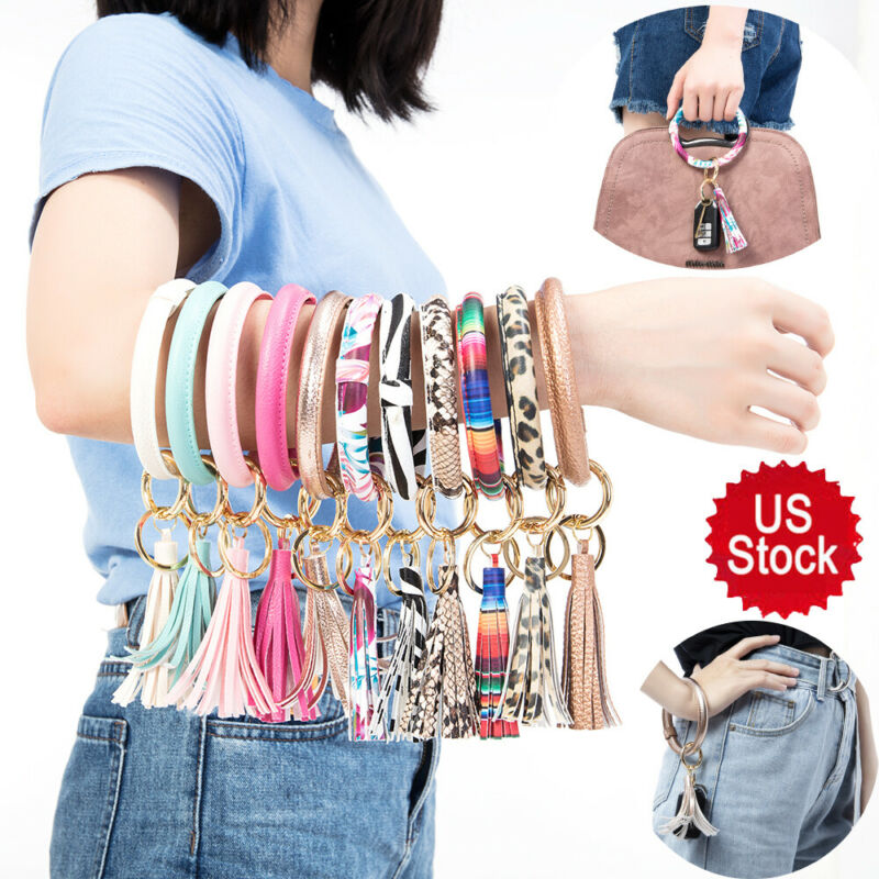 Leather Tassel Pendant Bracelet Keychain Wristlet Round Key Ring Chain for Women