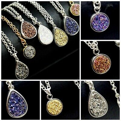 9mm/15mm Druzy Agate Crystal Coin/Teardrop Pendant Silver/Gold Necklace 16