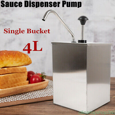 Stainless Steel Condiment Dispenser Ketchup Mustard Sauce Pump Single Bucket
