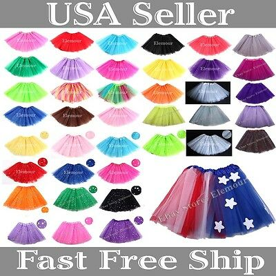Girls tutu Ballet Dance Wear Costume Party skirt Toddler Kids Skirt STAR TUTU - Wear Costumes