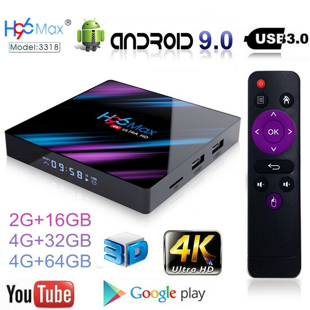 H96 Max Android 9.0 Smart TV Box 64G Quad Core 4K HD 5.8GHz
