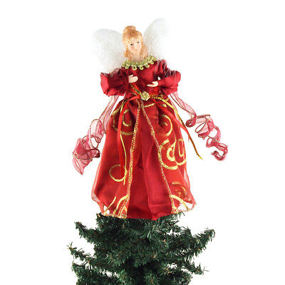 Organza Swirl Angel Christmas Tree Topper, Red, 9-Inch