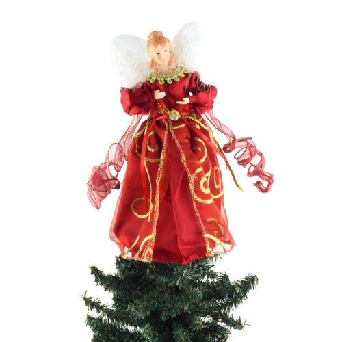 Organza Swirl Angel Christmas Tree Topper, Red, 9-Inch