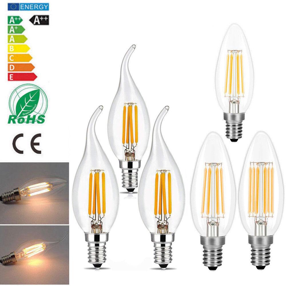 1x 4x 6x 10x LED E14 Edison Filament Leuchtmittel Kerze Birne Glühbirne 2w 4w 6w