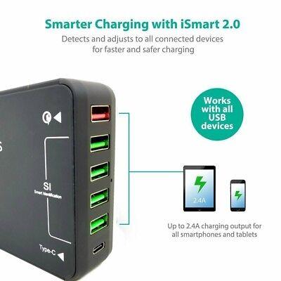 6-Port USB Charging Station w/ Quatcomm 3.0 Quick Charge Type-C...
