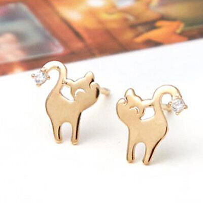 TPD Solid 14K Yellow Gold Cute Cat Stud a Pair of Earrings w/ Silicone plugs