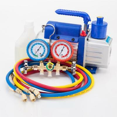 R134a R12 R22 Ac Manifold Gauge Set 5ft Colored Hose 14 Hp 3cfm Vacuum Pump