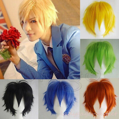 USA Short Cosplay Full Wig Men Boy Fiber Straight Anime Costume Hair Dress + Cap](Mens Wigs Costume)