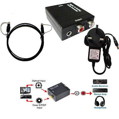 DAC Digital Optical Coax Coaxia Toslink to Analog RCA Audio Converter Adapter UK