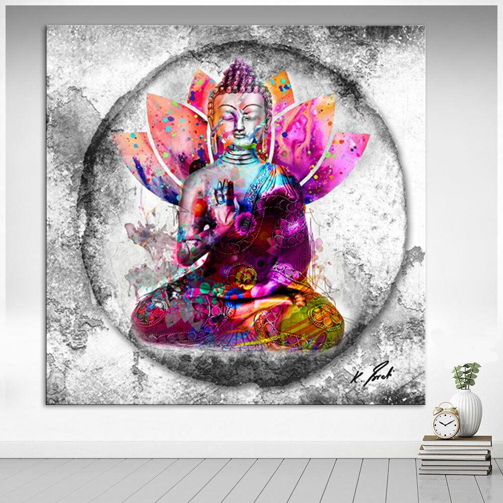 Buddha Bild Farbe Bunt Leinwand Abstrakte Kunst Bilder Wandbilder Neu D2148
