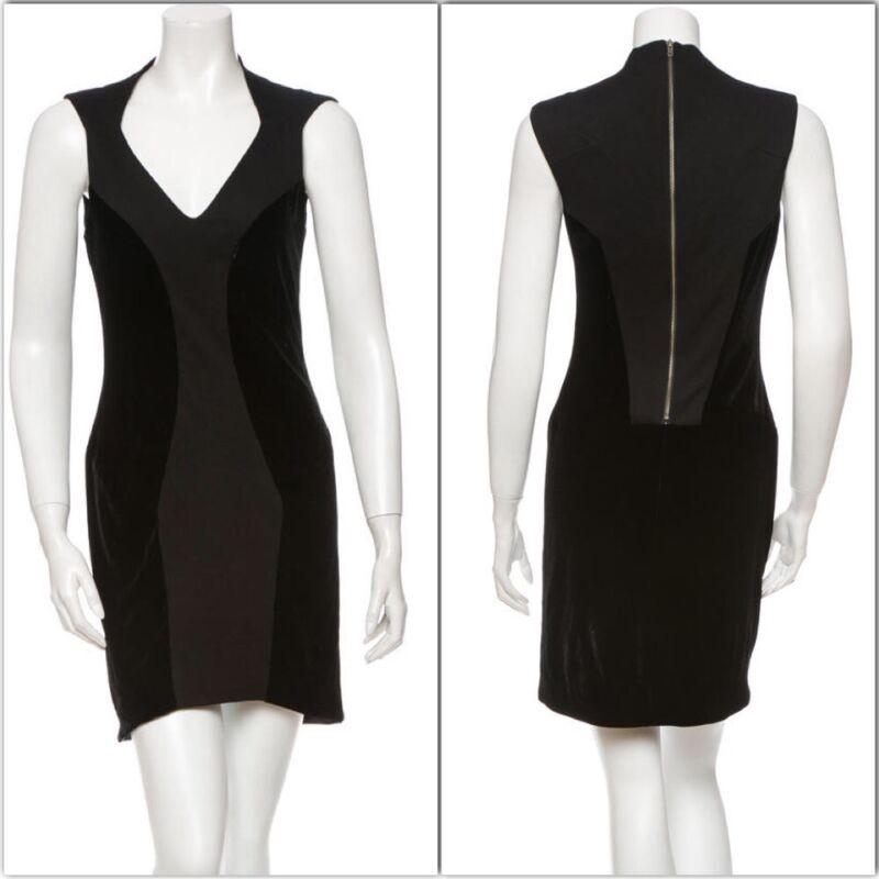 *SALE*HELMUT LANG BODYCON LBD BLACK DRESS W/ VELVET PANELS-EXPOSED ZIPPER-$450-4