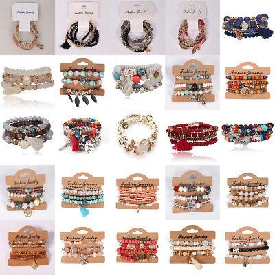 1 Set Charm Women Bohemian Multilayer Pearl Beaded Tassel Pendant Chain Bracelet