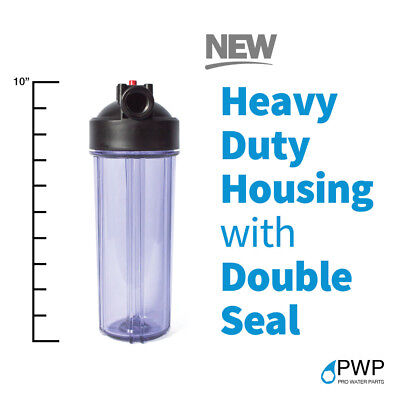Standard 2.5x10in Clear Whole House Filter Housing 3/4 NPT with Pressure Release