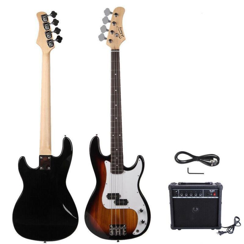 New GP Glarry Electric Bass Guitar Bass w/ 20W AMP Sunset