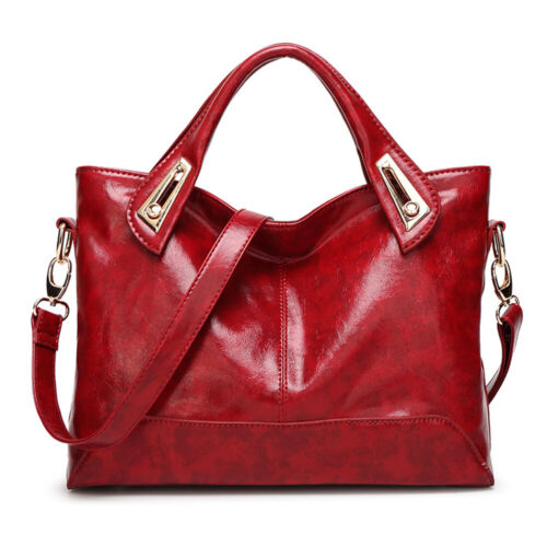 Women Oil Wax Leather Satchel Handbag Leather Messenger Shou