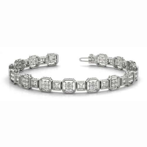 2 Carat Si1white Round Diamond Bracelet Vintage Style14k White Gold For Women