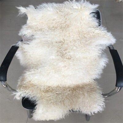 GENUINE BEIGE OR White TIBETAN MONGOLIAN FUR SHEEPSKIN LAMBSKIN HIDE RUG THROW - White Throw Rug