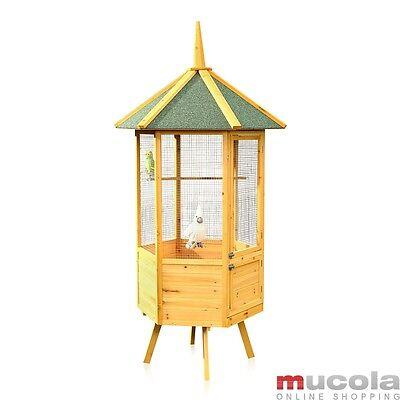 XXL 6-Eck Vogelvoliere Voliere Holz Vogelkäfig Vogelhaus Vogel Käfig Haus M01