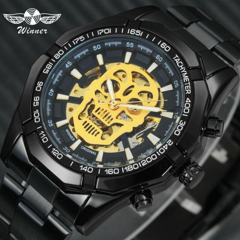 Vintage Herren Uhren Edelstahl Luxus Gold Automatik Uhren Skelett Steampunk Uhr