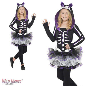 FANCY-DRESS-COSTUME-GIRLS-HALLOWEEN-SKELLY-CAT-OUTIFT-AGE-7-13-YEARS
