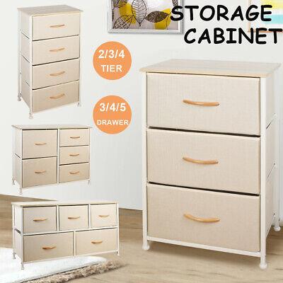 3/4/5 Drawer Fabric Dresser Storage Tower Closet Organizer Unit Bedroom Home NEW