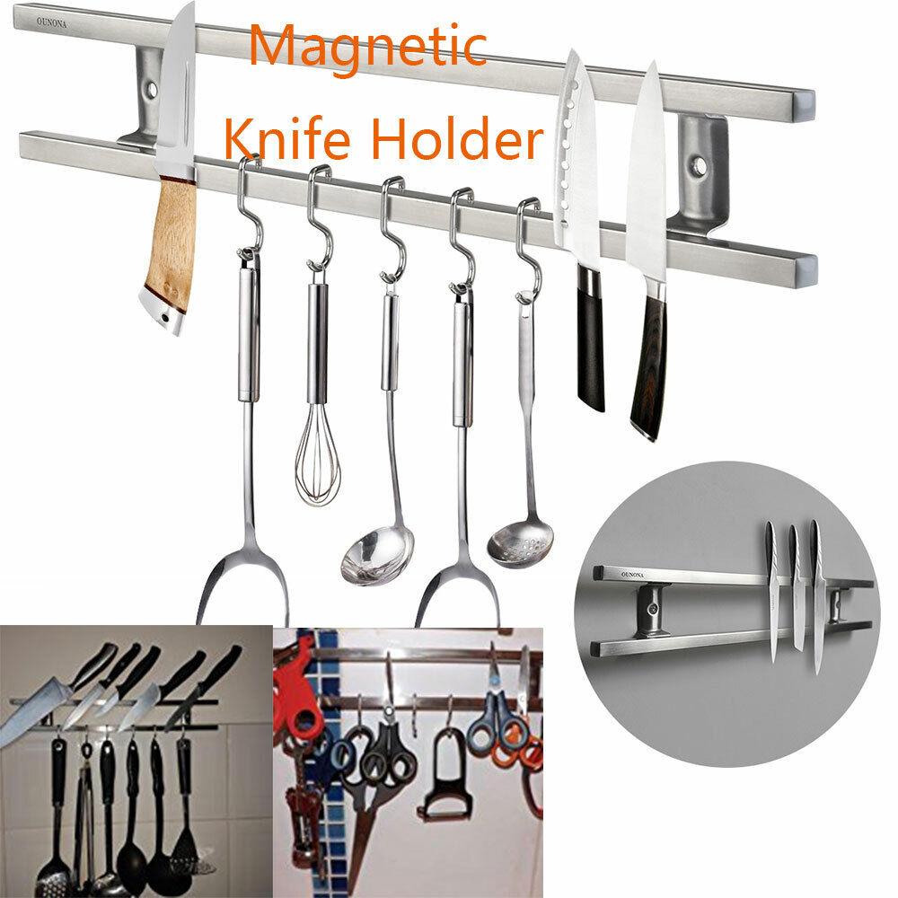 16'' Magnetic Knife Stripe Holder Double Bar Rack Wall Mount