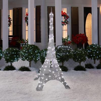 Christmas Laurel Pre Lit Eiffel Tower Outdoor Yard Decor Xmas Sculpture 7 FT