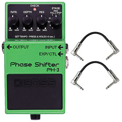 BOSS PH-3 Phase Shifter Tap Tempo Guitar Effects Pedal Stompbox + Patch Cables