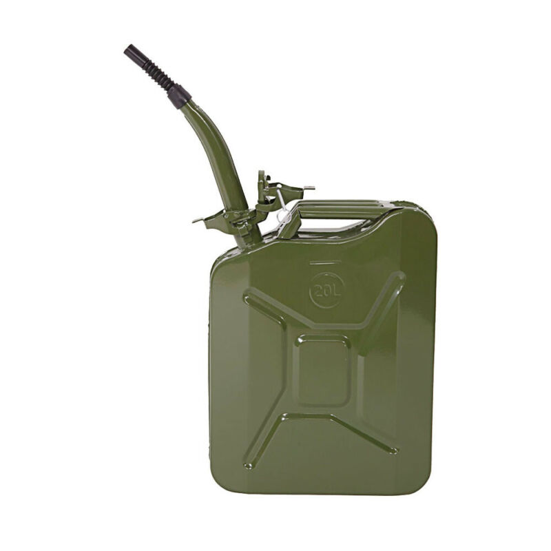 Jerry Can 5 Gal 20L Green Steel Gasoline Gas Fuel Tank Emergency Portable