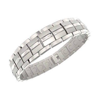 ProExl Mens Magnetic Titanium Bracelet Silver with Adjuster & Gift -