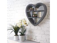 Heart shaped mirrored shelf